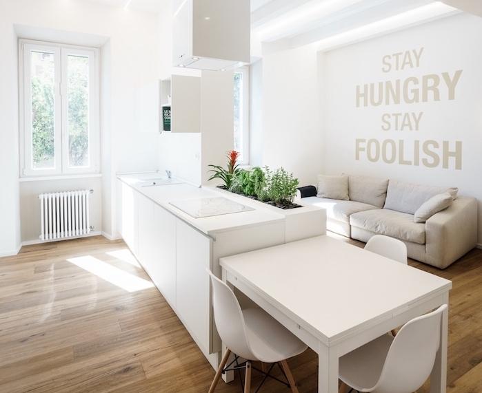 cuisine aménagée en blanc avec parquet clair et espace détente adjacent, canapé gris clair, plantes vertes