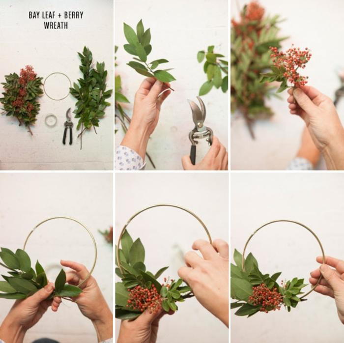 un bricolage de noel facile pour réaliser une mini-couronne de noel en feuilles de laurier et des fruits rouges