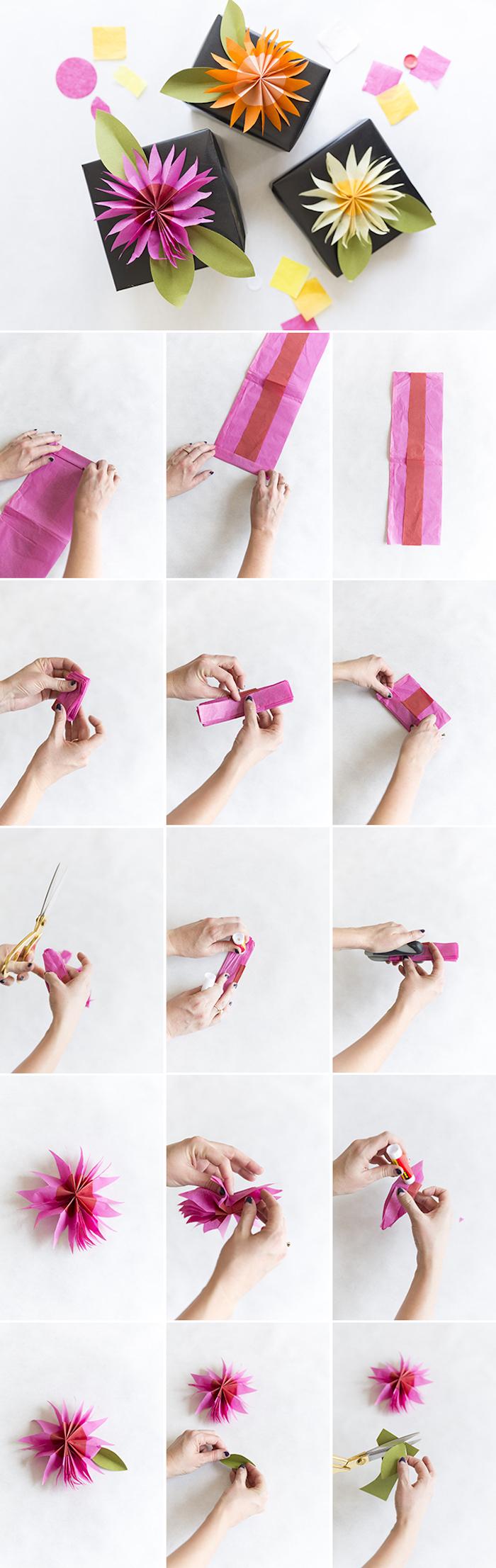 comment fabriquer une fleur en papier de soie pour décorer un paquet cadeau, tuto bricolage simple fleur couleur fuchsia