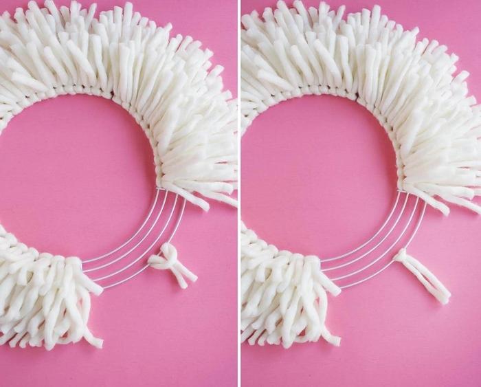 pinterest bricolage avec de la laine, comment réaliser une couronne de noel originale et douillette en fils de laine