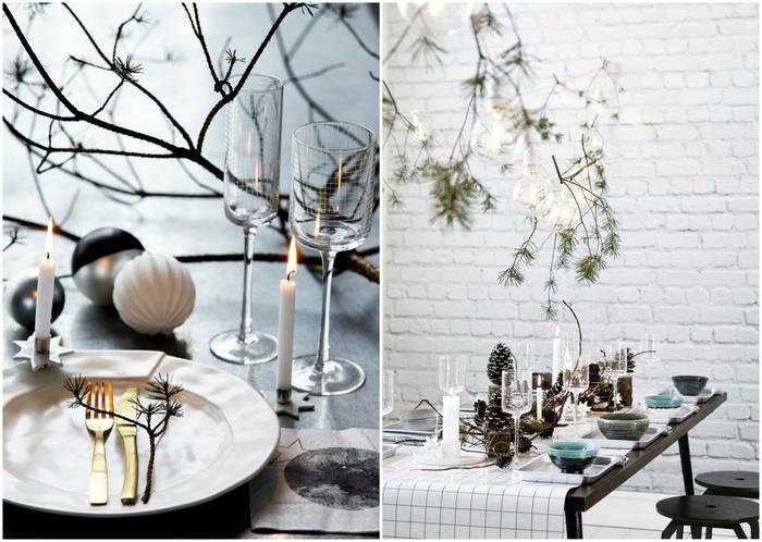 une décoration de table élégante de style monochrome avec un centre de table en branches et accents naturels
