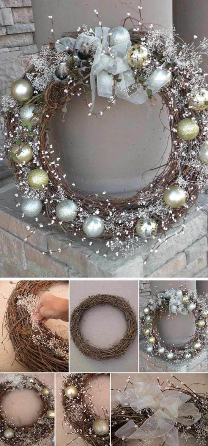 jolie couronne de noel a faire soi meme en branchage et boules de noel argent et or pour une ambiance festive à l'extérieur