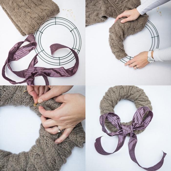 pinterest bricolage pour recycler une vieille écharpe en laine et la transformer en couronne de noel