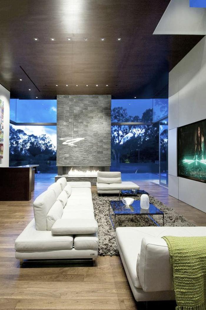 deco sejour avec canapés blancs en cuir, plafond en noir avec des petits corps luminaires insérés, table carrée avec plan noir, parquet en beige et marron, grand meuble en blanc avec TV plasme grand écran insérée
