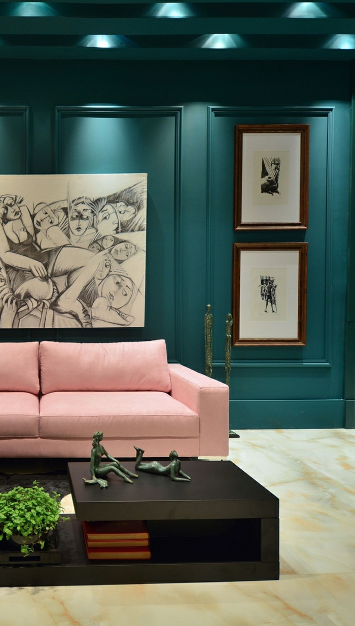 Awesome Salon Bleu Petrole Et Gris Contemporary Awesome Of Couleur ...