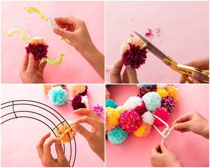 bricolage noel facile pour réaliser une couronne de noël originale en pompons de laine de couleurs vitaminée, technique simple pour réaliser des pompons à l'aide d'une machine à pompon