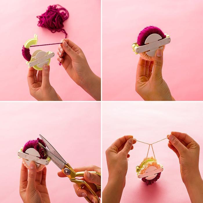 tuto pour réaliser de jolis pompons en laine à l'aide d'une machine à pompons, couronne de noel a faire soi meme avec des pompons faits maison