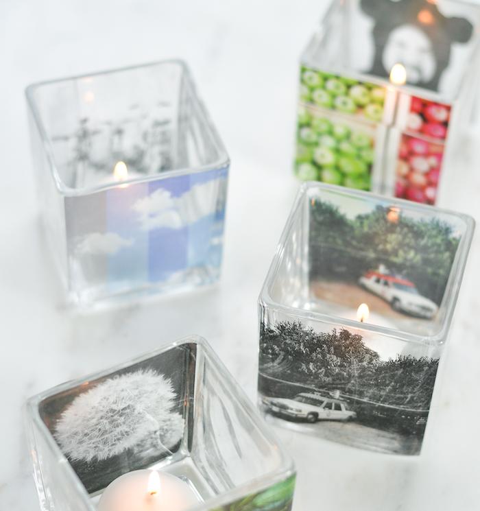 bougeoir en verre customisé de photos, exemple original de cadeau fête des pères à fabriquer soi meme