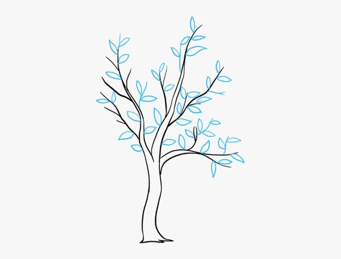 modèle arbre facile à dessiner pour débutant, dessin arbre avec tronc et branches, comment faire une feuille arbre facile, dessiner un arbre avec des feuilles