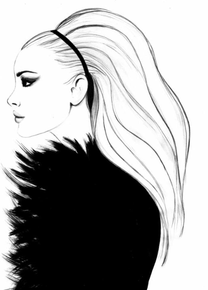Dessin Visage Femme Profil Noir Et Blanc