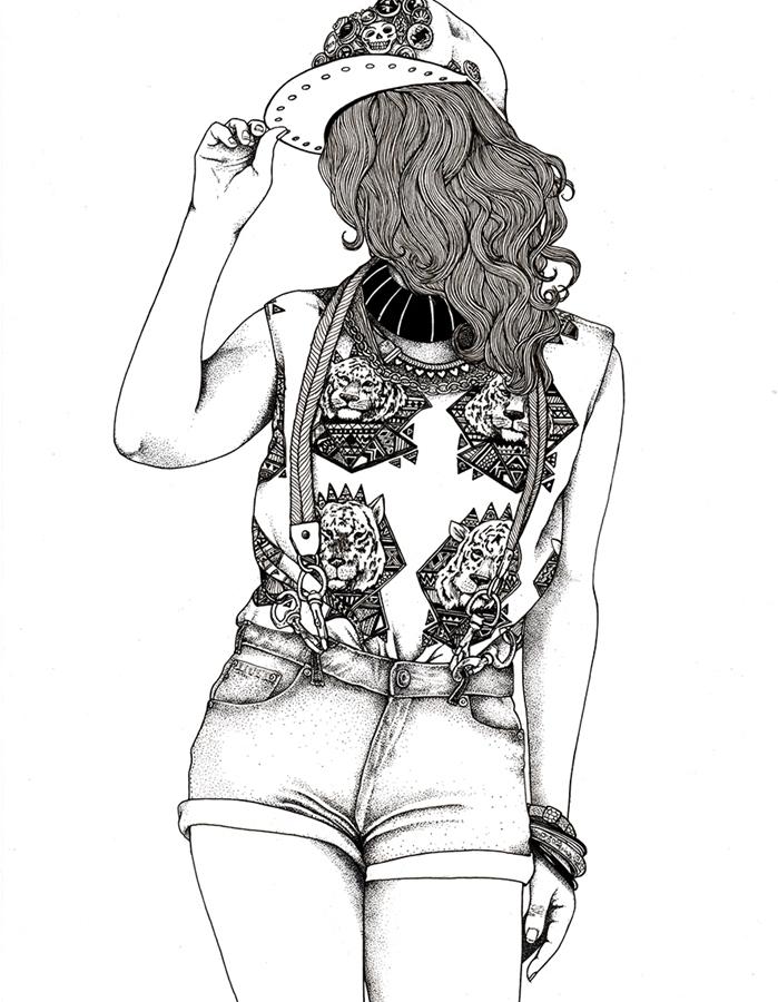 fond d'écran swag, photo blanc et noir à design femme swag aux cheveux longs et bouclés et shorts en denim