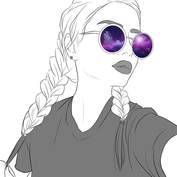 fond d'écran stylé, dessin digital de fille swag aux cheveux blonds tressés avec lèvres foncés et lunettes de soleil