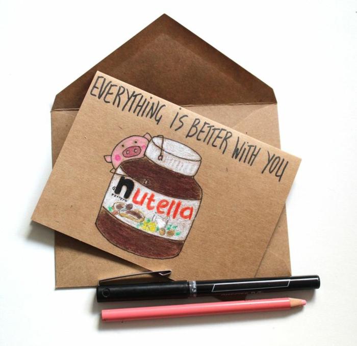 Carte de voeux dessin pour sa meilleure amie idée nutella