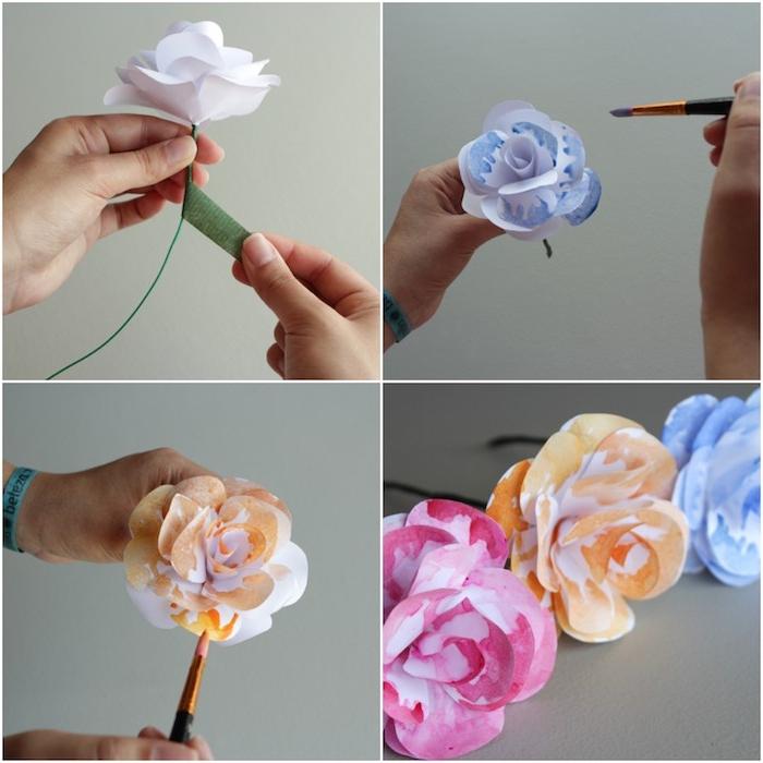 modele de fleur en papier facile, pétales blanches et tige en fil de fer enveloppée de ruban fleuriste, peinture sur les pétales