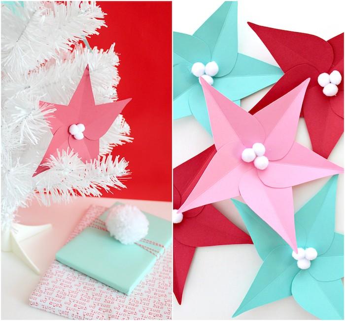 diy fleur en papier, exemple d étoile de noel en feuilles de papier colorées et petits pompons blancs, sapin de noel blanc décoré