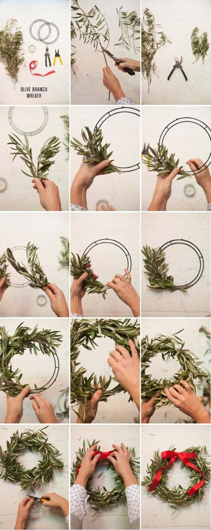 tuto couronne de noel a faire soi meme avec des branches de verdure et un cadre métallique