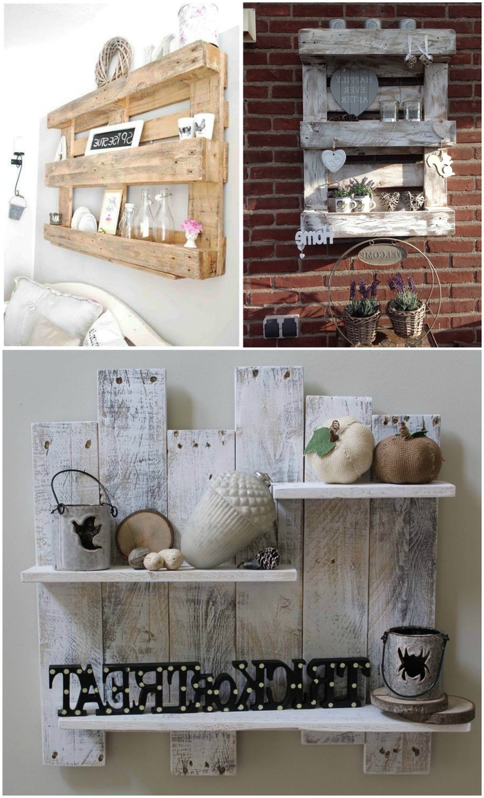des étagères murales en palette qui donne à la déco le charme du style champêtre, une déco murale champêtre avec des meubles palettes