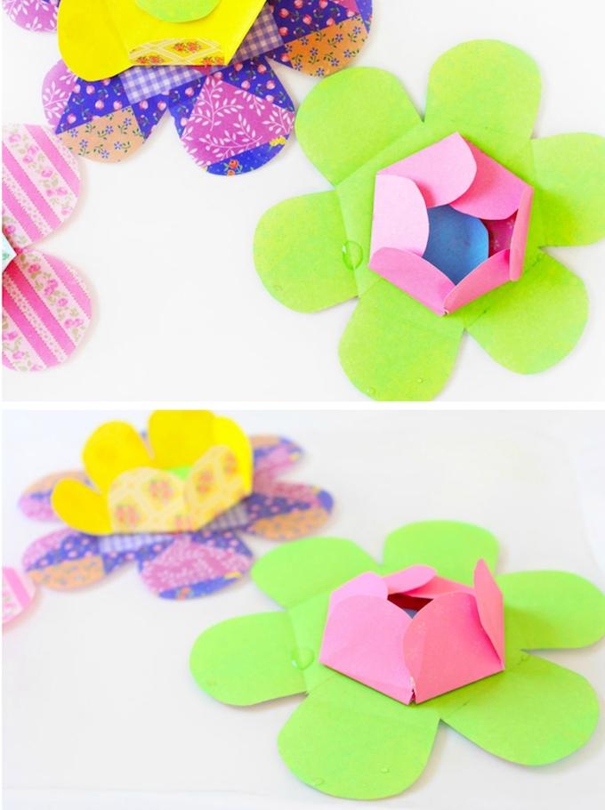 exemple comment faire des fleurs en papier pliage origami, fleurs vertes et colorées avec un centre de feuille rempliée ver l interieur
