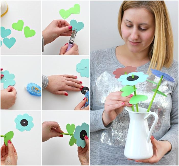 activité manuelle primaire, diy fleur en papier fabriquée à partir de coeurs en papier et pailles en guise de tige