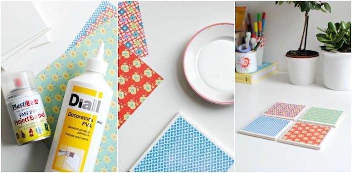 dessous de verre en carreaux blancs customisés de papier coloré à motifs différents, cadeau fait main tutoriel