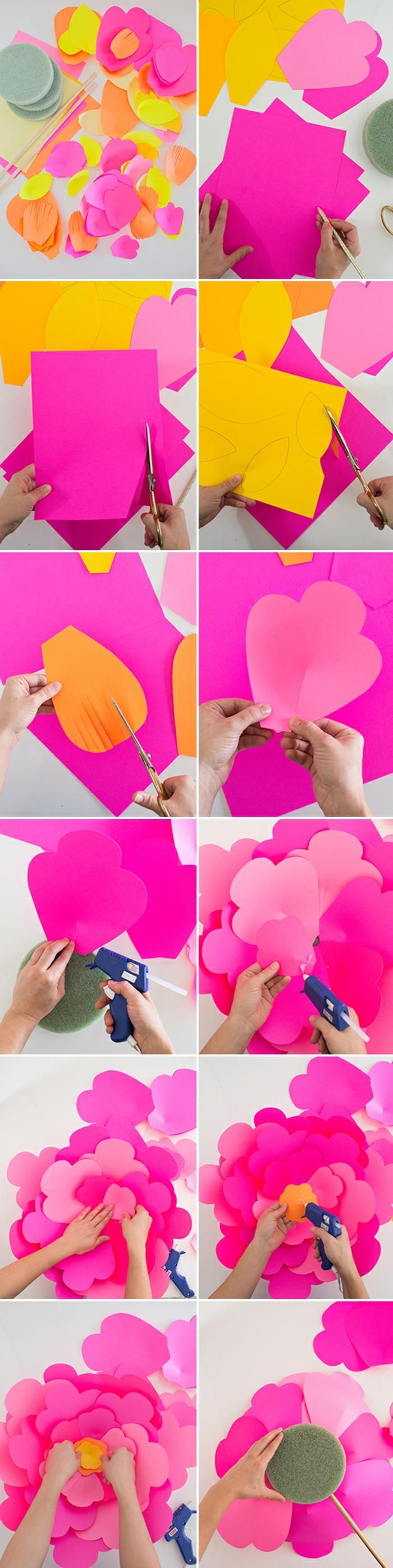 diy fleur en papier avec des petales roses arrondies et frangées et centre jaune, réalisation étape par étape