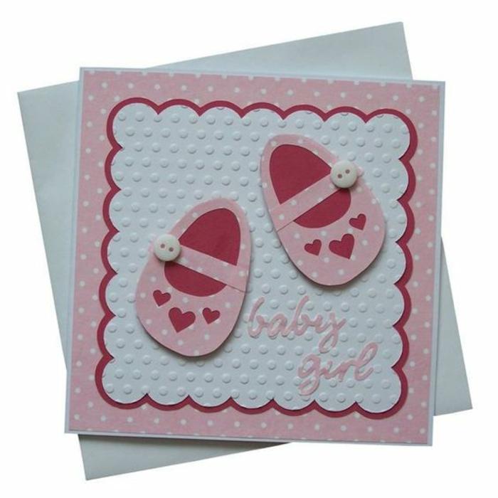 faire part créatif, deux petits souliers roses sur papier texturé mignon