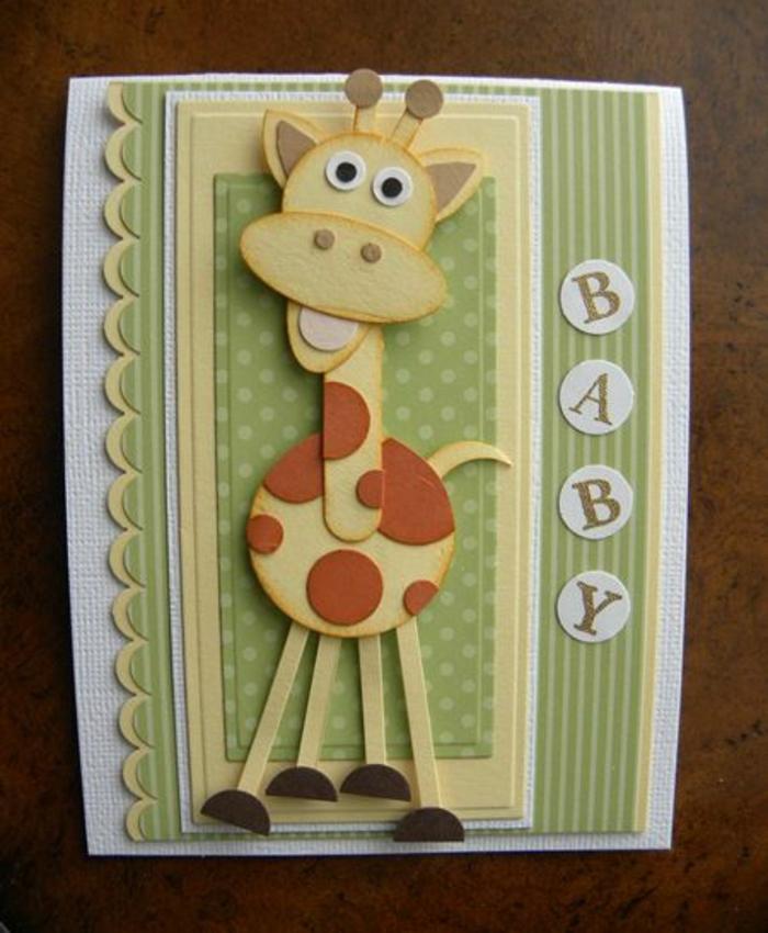 faire part de naissance, girafe amusante découpé pour annoncer la naissance