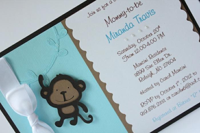 faire part de naissance, singe et texte avec les informations importantes