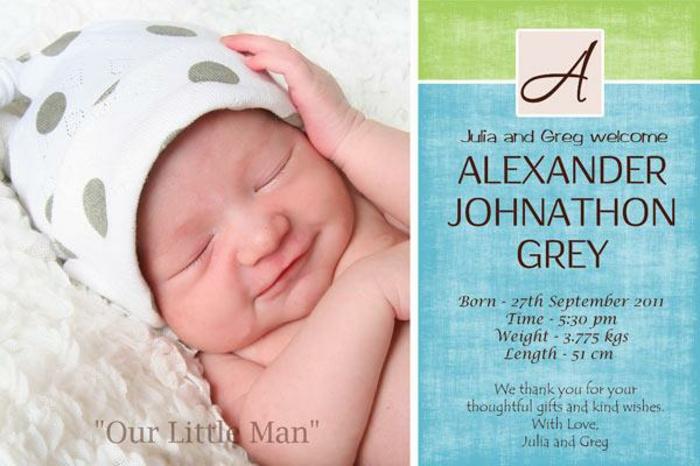 faire part de naissance avec photo mignonne du nouveau né, les informations importantes