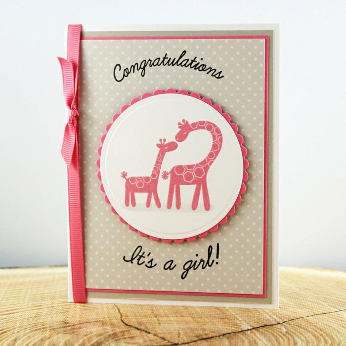 faire part naissance fille avec deux girafes maman et bébé, carte créative