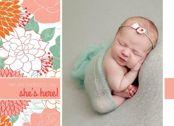 faire part naissance fille, petite princesse qui s'est endormi, un simple texte écrit
