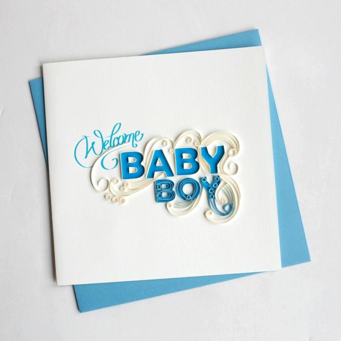 faire part naissance garçon, design avec papier quilling, annoncer la naissance de son fils