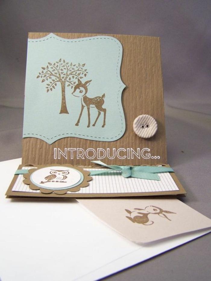 faire part naissance avec une biche et un arbre dessinés, cartes créatives avec des animaux