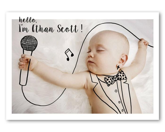 faire part naissance pas cher, un photomontage rigolo pour un bébé style rock