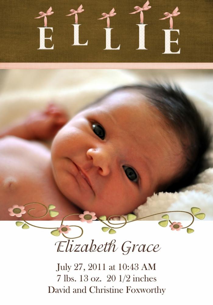 faire part pas cher, photomontage bébé et script, la date et l'heure de naissance
