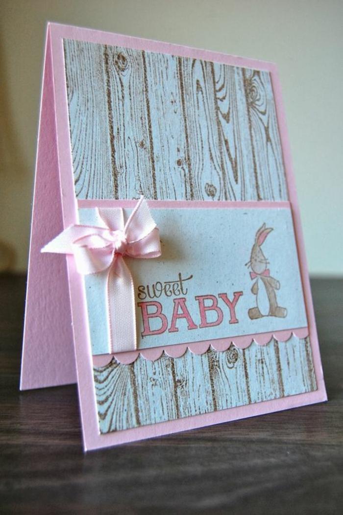 faire une carte personnalisée, carte style shabby chic, ruban rose, papier cartonné