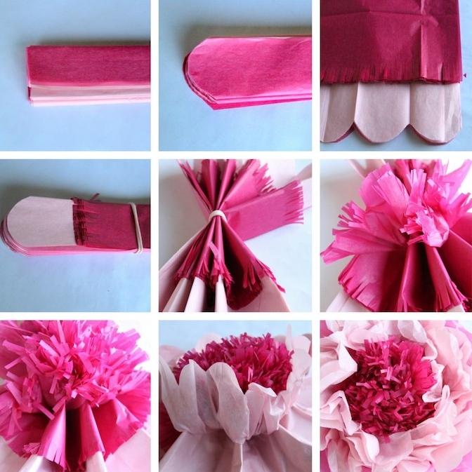 exemple comment créer une fleur en papier de soie, papier rose et fuchsia plié en accordeon et par le milieu, exemple de deco murale et de table mariage