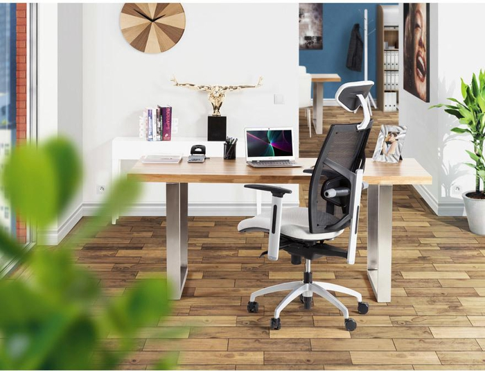 espace de travail à domicile aménagé dans un style contemporaine avec un siège ergonomique aux lignes élancées pourvu d'un repose-tête et d'un soutien dorsal