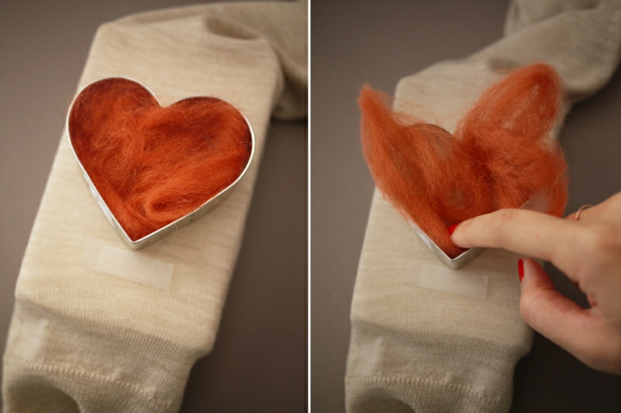 créer un coeur avec de la laine et un moule coeur, technique facile