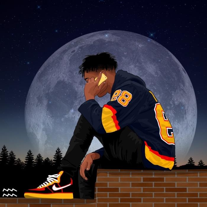 fond d'écran stylé swag, photo digitale en couleur à design garçon swag habillé en tenue hip hop avec sweat-shirt bleu foncé