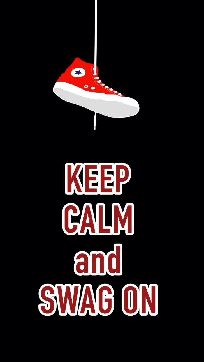 image swag pour fond d'écran d'iphone, photo noire avec dessin baskets rouges et lettres inspirantes