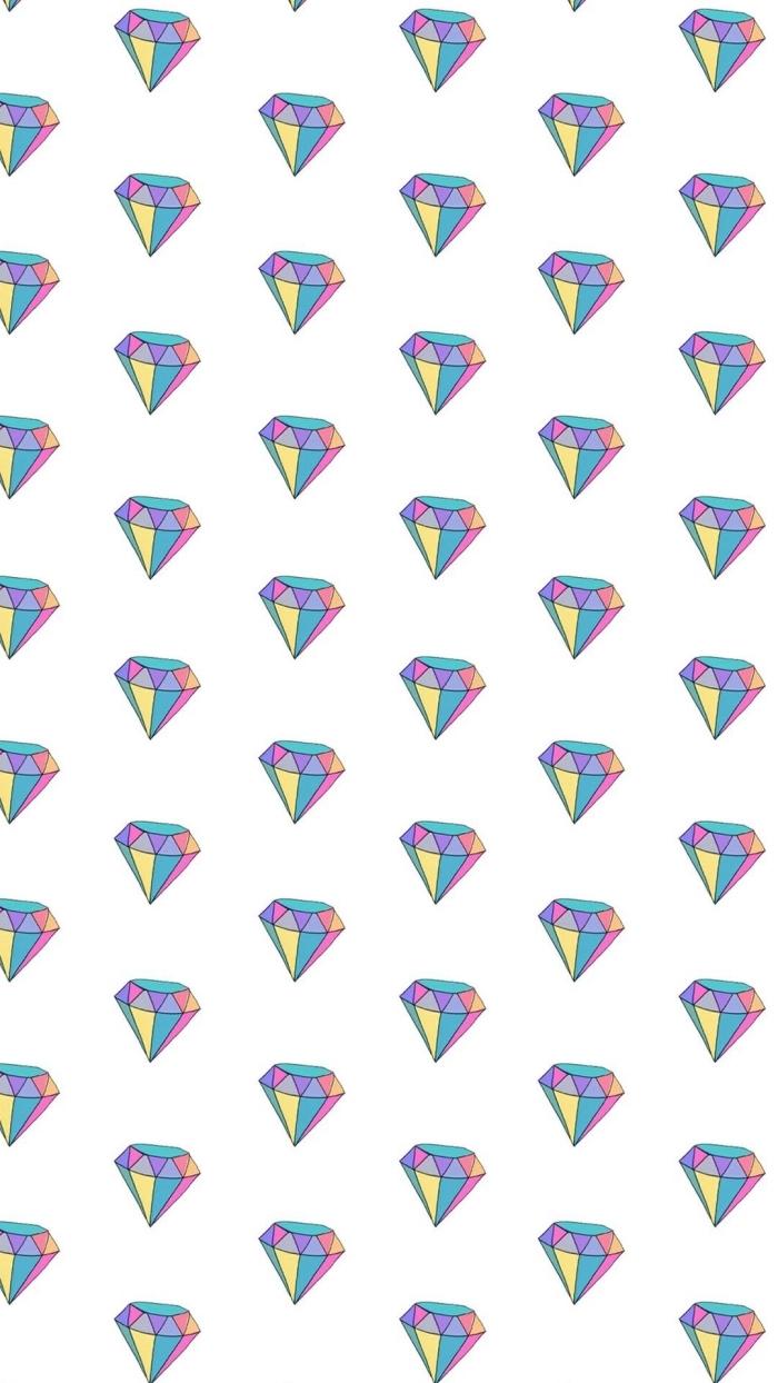 image swag pour fond d'écran, photo blanche avec petits diamants en couleurs pour écran iphone