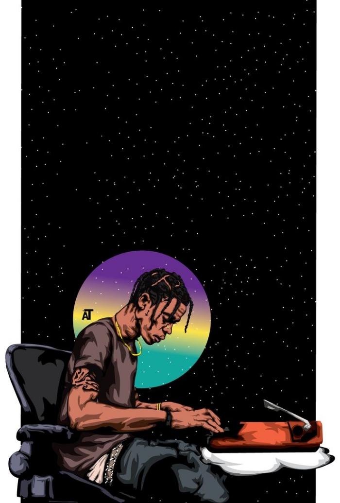 photo swag fond d'écran iphone, dessin digital à fond ciel nocturne avec lune multicolore et homme swag