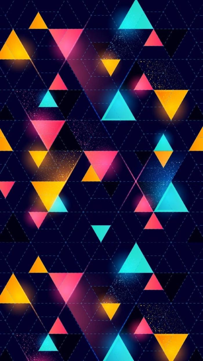 image swag pour fond d'écran d'iphone, photo digitale noire à design technologique et motifs triangulaires