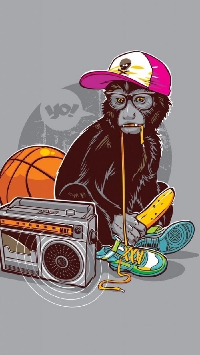 fond d'écran swagg, photo à fond gris avec dessin singe swag en casquette rose et radiocassette