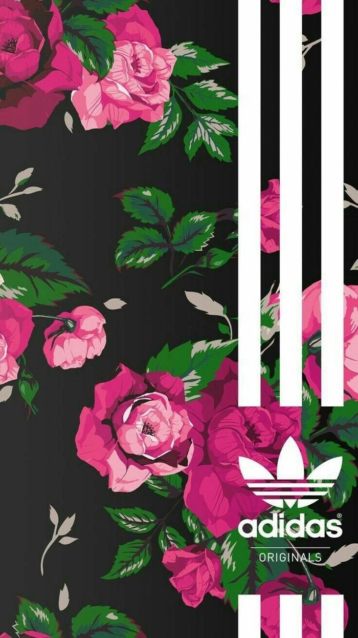 fond d'écran stylé, photo digitale à fond noir avec fleurs rose et feuilles grises et vertes