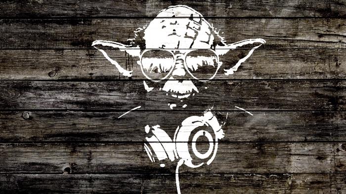 fond d'écran swagg pour ordi, dessin d'inspiration Yoda de Star Wars avec écouteur et lunettes de soleil