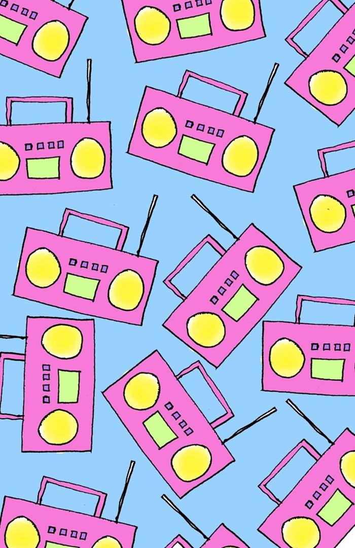 photo swag fond d'écran iphone, image à fond bleu avec radiocassette en rose et jaune vert