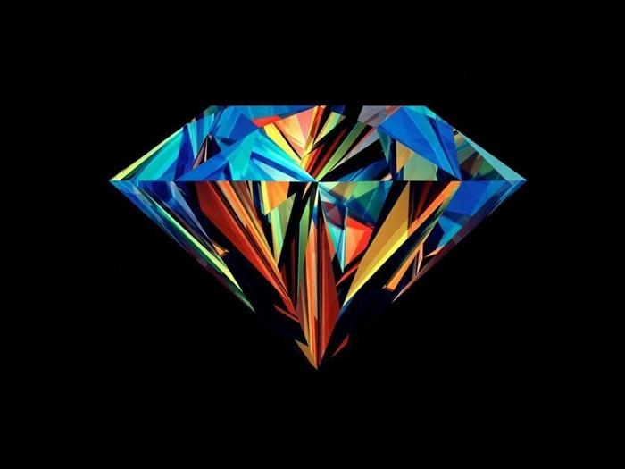 fond d'écran stylé swag, photo noire avec dessin digital de diamant en couleurs variées