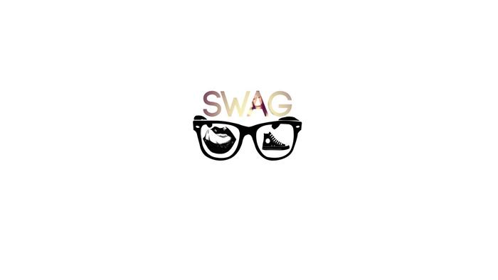 image swag pour fond d'écran, photo blanche avec lettres swag et petits dessin à design swag avec lunettes de soleil et baskets